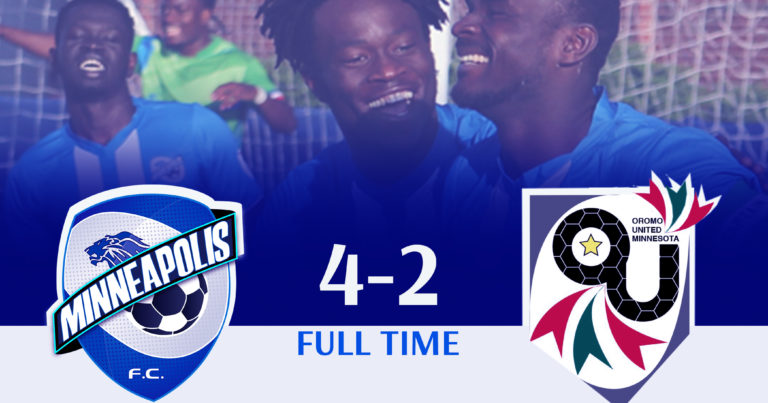 FC Minneapolis comes from behind to win 4-2 against Oromo United in today's final match at the Gordy Aarmoth.